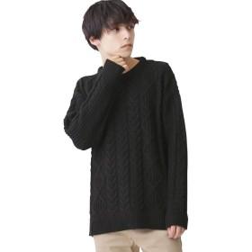 (モノマート) MONO-MART オーバーサイズ アラン編み ヘムライン BIG ケーブル ニット セーター メンズ ブラック フリーサイズ