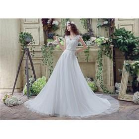 良質なチュール ウェディングガン 結婚式ドレス 披露宴ガールズ V-ネック  (白, 6)