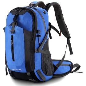登山リュック リュックサック 45L 登山バッグ 折りたたみ可能 軽量 通気性 収納力抜群 レインカバー付き 登山 旅行 キャンプ ハイキング 防災用 男女兼用 バックパック ブルー