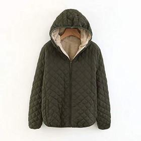 YideaHome レディースパーカー 裏ボアフリースコート 裏起毛 中綿コート アウター 中綿ジャケットフード付き カジュアルコート 保温 暖かい 無地 ゆったり 人気 2XL