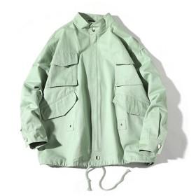TAOHUA スプリングコート 春物 メンズ ジャケット 復古 カジュアル コート アウター (2XL, グリーン)