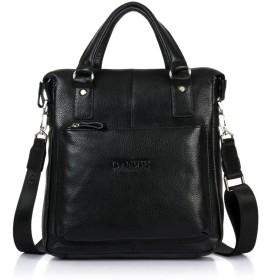 【DANJUE】天然皮革 ショルダーバッグ メンズ a4 縦 本革 ハンドル ビジネス 紳士用 DJ147-3 (黒)