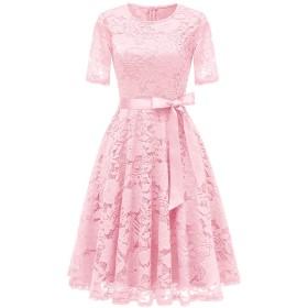 Dresstell(ドレステル) 結婚式ドレス パーティー ワンピース レース 半袖 ひざ丈 二次会 お呼ばれ 発表会 レディース ピンク Sサイズ