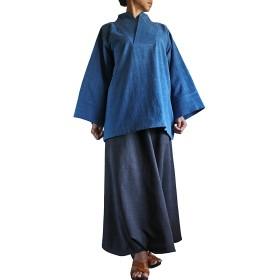 ジョムトン手織綿の着物風オリエンタルプルオーバー (インディゴ)