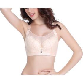 RIKURED 大きいサイズ レディース 補正ブラジャー 胸元すっきり 胸を小さく見え 胸元隠しレース ブラック ベージュ ピンク ネイビー パープル (100D, ベージュ)