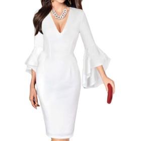 Tootess 女性はウエストVネックロングスリーブプラスサイズ鉛筆シースドレス White 3XL