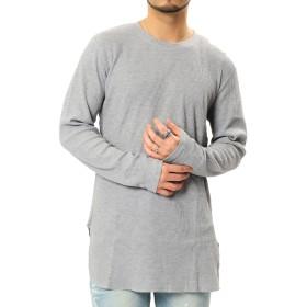 JIGGYS SHOP サーマル Tシャツ メンズ ロング丈 サイドスリット ワッフル カットソー 無地 長袖 XL 杢グレー