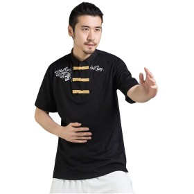 (ジ-ライク) G-like 半袖 カジュアル スポーツ 太極拳服 ユニセックス カンフー武術 Tシャツ シャツ (XXL, 黒)