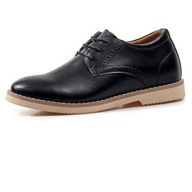 [ヒングル] シークレット ビジネス メンズ シューズ 本革 7cm 身長アップ スニーカー レースアップ 革靴 紳士靴 ストレートチップ ウォーキング 歩きやすい 靴 (26.5,ブラック)
