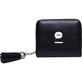 財布 レディース 二つ折り ミニ財布 可愛い フリンジ 大容量 多機能 スナップボタン&ファスナー 小銭入れ (ブラック)
