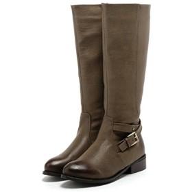 [フェリシア フェリーチェ] 足首ベルトデザインのロングブーツ 23.5cm ブラウン茶色