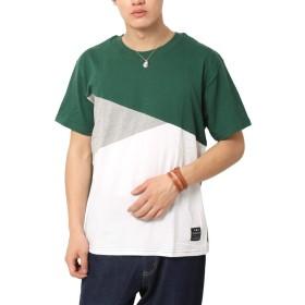 (アーケード) ARCADE Tシャツ メンズ 切り替え クレイジー デザイン M 6-グリーン【Aタイプ】