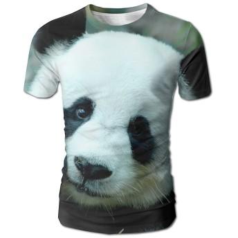 大人 男 半袖Tシャツ パンダ ファッション 通気 シャツ トレーニング 普段着 White SizeL