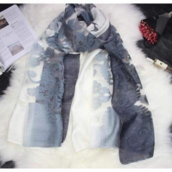 スカーフ ストール マフラー ショール シルク 花柄 冷房対策 日焼け止め UVカット 刺繍 レディース 大判 薄手 レース オーガンザ グラデーション