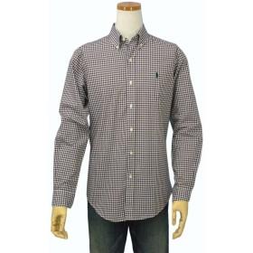 Ralph Lauren(ラルフローレン) Men's, ギンガムチェック長袖シャツ#7983863(並行輸入品) (S, ブラウン/ホワイト)