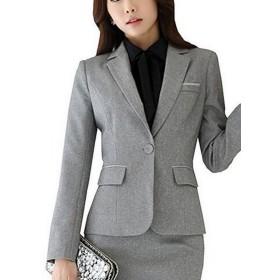 激情女郎 レディース ジャケット ショート OL オフィス 就活 ビジネス 通勤 リクルート 事務服 グレー 4XL