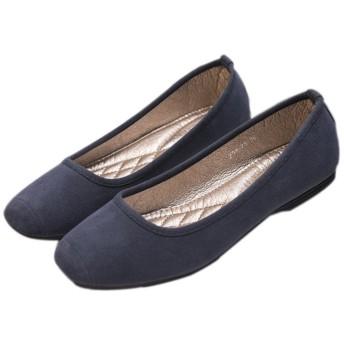 Youchan(ヨウチャン) スクエアトゥ スエード フラット パンプス ローヒール 靴 シューズ レディース (41(25.5cm),ブルー)