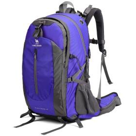 CAMEL CROWN 登山リュック 40L 大容量 防水 防災 ショルダーバッグ 人気 多機能 軽量 バックバッグ スポーツリュックサック 通気性 ユニセックス (ブルー)