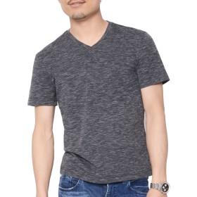 ティーシャツドットエスティー Tシャツ Vネック 半袖 無地 天竺 スラブ カットソー 杢 ビッグサイズ メンズ ブラック LL