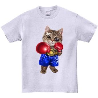 【Fox Republic】【ボクシングをする猫 ねこ ネコ】 アッシュ Mサイズ メンズ 半袖 Tシャツ