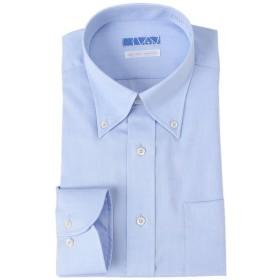 [ドレスコード101] スマシャツ 超形態安定 ノーアイロン メンズ 長袖 ワイシャツ 綿100% 【すっきりシルエット】スリム KWGL10 ボタンダウン×ブルー(ドビー織ヘリンボーン) 日本 首周り41裄丈84 (日本サイズL相当)