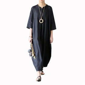 レレディース ワンピース 無地 麻 リネン100% 夏 秋 カジュアル ゆったり 上質   快適 身幅ゆったり 半袖  3色 (黑)