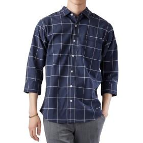 (モノマート) MONO-MART 7分袖 プレミアム 綿麻 リネン シャツ リネンシャツ ストレッチ メンズ (レギュラー)ウィンドウペンネイビー XLサイズ