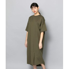 [センスオブプレイス] ワンピース ドレス Tシャツワンピース(5分袖) レディース L.KHAKI FREE