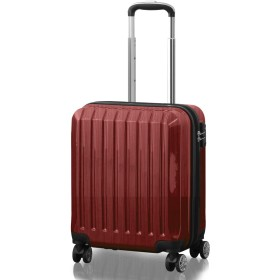 FIELDOOR TSAロック搭載スーツケース [STRAIGHT NEO] 【Sサイズ/レッド】 機内持込 ダブルキャスター 鏡面ヘアライン仕上げ トラベルキャリーケース リブ構造 ポリカーボ樹脂 軽量 耐衝撃 容量拡張機能 ダブルファスナー