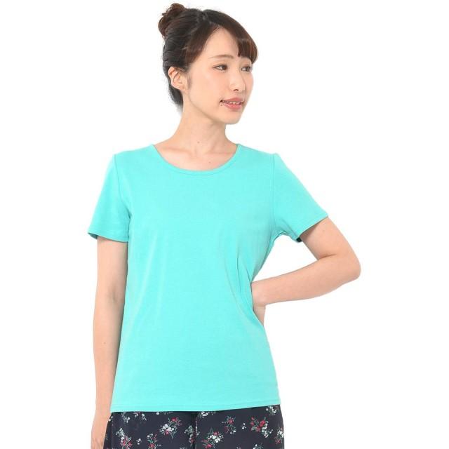 (パークガール)PARK GIRL コットン100%フライス素材無地クルーネック半袖Tシャツ レディース 大きいサイズ S/M/L/LL/3L 5628800000 (LL, アクアグリーン)