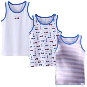 男の子 タンクトップノースリーブシャツ ホワイト綿100% 3枚組 130M