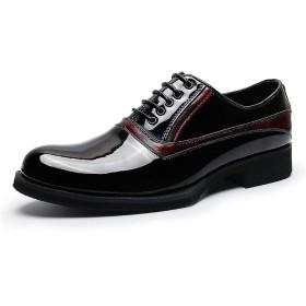 [Angelo] ビジネスシューズ メンズ ビジネス ストレートチップ イギリス風 紳士靴 PU レザー ウイングチップ スクエアトゥ 革靴 メンズ 靴 トレンド モンクストラップ レースアップ ぴかぴか 大きいサイズ (40(25.0cm), ブラック)