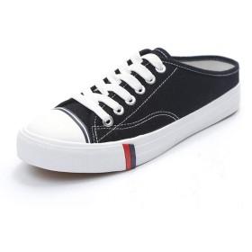 [GoldFlame-JP] かかとなし スリッポン レディース スニーカー 軽量 カジュアルシューズ レースアップスニーカー サンダル風 キャンバス 軽量 通気性 美脚 学生靴 サボ 可愛い 着やすい 楽チン シューズ 快適