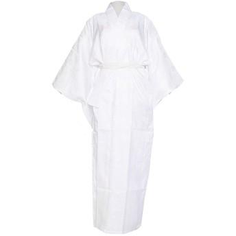 洗える 長襦袢 半衿付 袖無双 地紋入 仕立て上がり (Mサイズ, 白)
