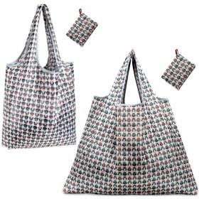 折りたたみ買い物バッグ 防水素材 LMセット (サークルブラック)