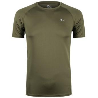 Sillictor Tシャツ メンズ 半袖 無地 スポーツ シャツ 通気 速乾 吸汗 防臭 UVカット アーミーグリーン 2XL