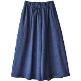 [ズーティー] zootie 色落ちしにくい カットソーデニム ワイドパンツ ブルー フリーサイズ