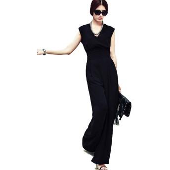 (ナチュシー) NatuSe レディース オールインワン サロペット オーバーオール ワイド パンツ ドレス 綺麗 (03 XL)