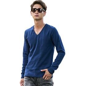 (エーエスエム) A.S.M メンズ Tシャツ 長袖 ロング スパンフライスVネックT 02-61-8980 50(L) ネイビー(40)