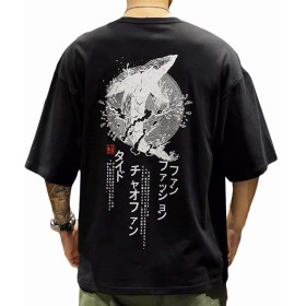 YIMANIE Tシャツ メンズ ビッグシルエット オーバーサイズ 原宿風 半袖 七分袖 ゆったり クルーネック 和風 夏用 ドロップショルダー 春夏秋冬 文字 マンガ柄 大きいサイズ ファッション