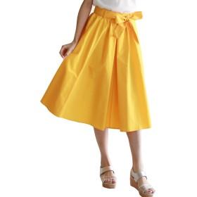 (リアルキューブ) REAL CUBE スカート ウエストリボン付きギャザーボリュームスカート レディース イエロー Freeサイズ