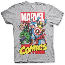 Officially Licensed Merchandise Marvel Comics Marvel Comics Heroes Mens T-Shirt (H.Grey), X-Large