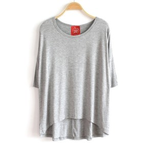STELLA&CHAM テールカット ルーズ ネック 大人のTシャツ ゆる ストレッチ 無地 アシメ カットソー アスレジャー レディース カジュアル トップス 大きいサイズ 0070 2XL ヘザーグレー