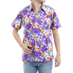 [OKI(オキ)] アロハシャツ メンズ レディース ユニセックス かりゆしウェア ハイビスカスB (L, パープル)