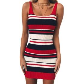 Beeatree 女性ストライプセクシー柔軟フィットニットTシャツタンクトップドレス Red L