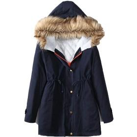 Lisa Pulster コート 秋服 冬服 暖かい 防寒着 ミリタリーコート 軽い 女性用 綿入れの外套 大ヤードの女装 (ブルー, 2XL)