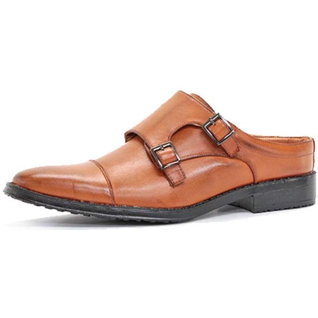 [AAA+] 2695 ビジネスシューズ 靴 サンダル オフィス スリッポン 紳士靴 メンズ (M, ライトブラウン)