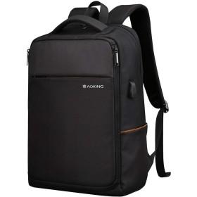 大容量 防水 ビジネス リュック メンズ 軽量 旅行 通勤 アウトドア リュックサック 通学 15.6インチ PC バッグ バックパック ロールトップ USBポート ケーブル付き (リュック, 03 ブラック)