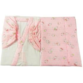 七五三 お子様用 二部式 肌着 人形と麻の葉柄 ピンク 女の子 hk-47 (7-8才用)