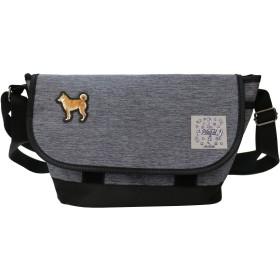 プラスエイチ(Plus H) ショルダーバッグ ミニショルダー 柴犬 3D刺繍パッチ付き メンズ レディース PH8414 (グレー・柴犬3D刺繍パッチ)
